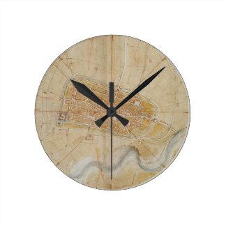 Relógio Redondo Leonardo da Vinci - plano da pintura de Imola