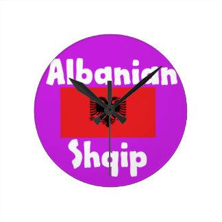 Relógio Redondo Língua de Albânia e design da bandeira