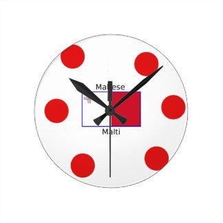 Relógio Redondo Língua (de Malti) e design malteses da bandeira de