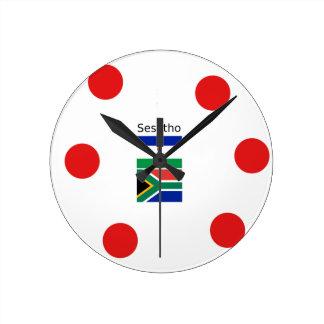 Relógio Redondo Língua de Sesotho e bandeiras de Lesotho/África do