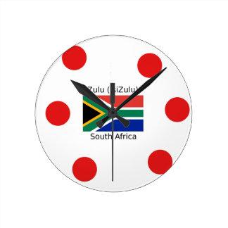 Relógio Redondo Língua do tribo Zulu (isiZulu) e bandeira de