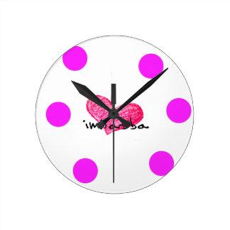 Relógio Redondo Língua maltesa do design do amor