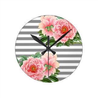Relógio Redondo Linhas cor-de-rosa do cinza das peônias