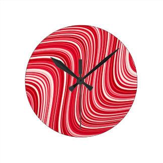 Relógio Redondo Linhas onduladas em vermelho e em branco