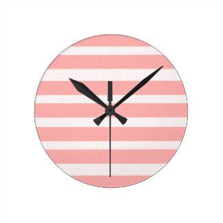 Relógio Redondo Listras cor-de-rosa e brancas