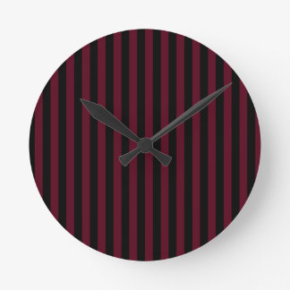 Relógio Redondo Listras finas - pretas e escarlate escuro