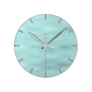 Relógio Redondo Listras metálicas mínimas das cinzas de prata do