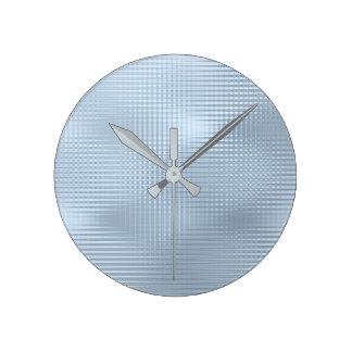 Relógio Redondo Listras metálicas mínimas Pastel azuis das cinzas