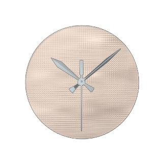 Relógio Redondo Listras metálicas mínimas Pastel das cinzas de