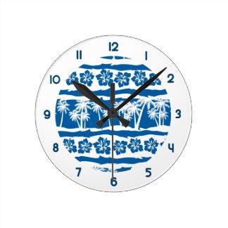 Relógio Redondo Listras tropicais da palma da praia