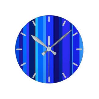 Relógio Redondo Listras verticais azuis