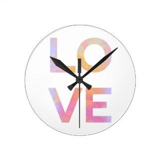 Relógio Redondo Love, Watercolor