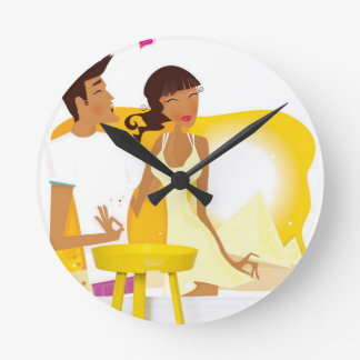 Relógio Redondo Lua de mel do verão