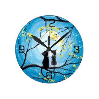Relógio Redondo Lua lunática com gatos