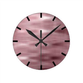 Relógio Redondo Lux abstrato metálico preto do feijão vermelho de