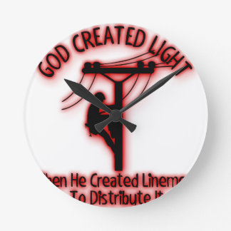 Relógio Redondo Luz criada deus - bíblia engraçada, design do