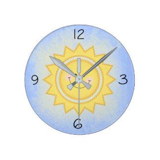 Relógio Redondo Luz do sol bonito Pastel de Sun do berçário