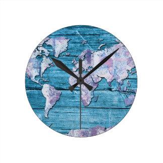 Relógio Redondo madeira 15 do mapa do mundo