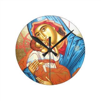 Relógio Redondo Madonna com ouro religioso bizantino do ícone de