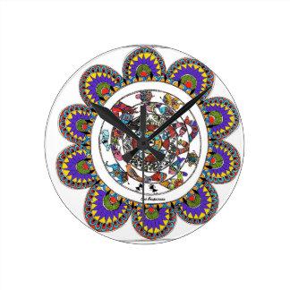 Relógio Redondo Mandal floral no estilo de Madhubani