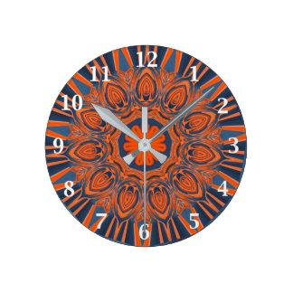 Relógio Redondo Mandala alaranjada dos azuis marinhos