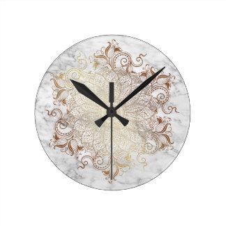 Relógio Redondo Mandala - ouro & mármore