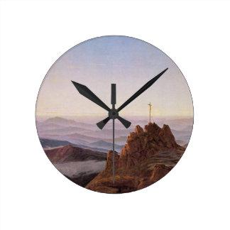 Relógio Redondo Manhã em Riesengebirge - Caspar David Friedrich