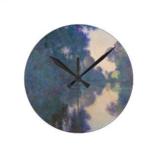 Relógio Redondo Manhã no Seine perto de Giverny - Claude Monet.j