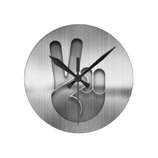 Relógio Redondo Mão da paz do cromo