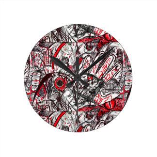 Relógio Redondo Mãos do desenho da caneta da raiva