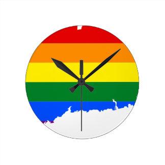Relógio Redondo Mapa da bandeira de Connecticut LGBT