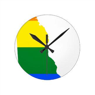 Relógio Redondo Mapa da bandeira de Delaware LGBT