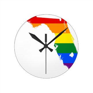 Relógio Redondo Mapa da bandeira de Florida LGBT