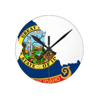 Relógio Redondo Mapa da bandeira de Idaho