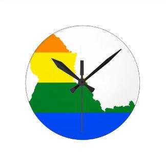 Relógio Redondo Mapa da bandeira de Idaho LGBT