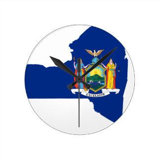 Relógio Redondo Mapa da bandeira de New York