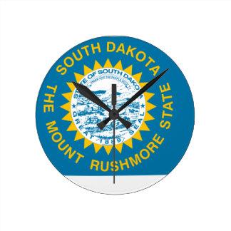 Relógio Redondo Mapa da bandeira de South Dakota
