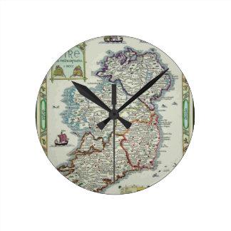 Relógio Redondo Mapa de Ireland - mapa histórico de Eire Erin do