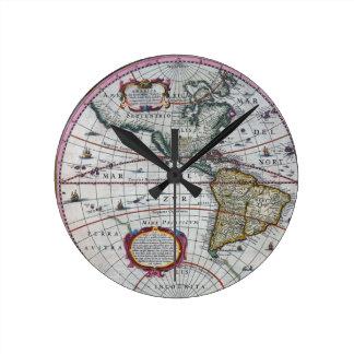 Relógio Redondo mapa velho Americas