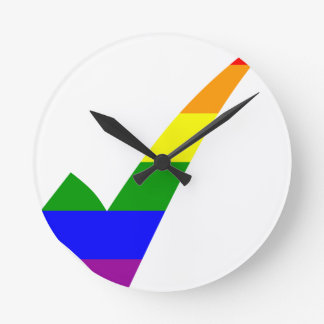Relógio Redondo Marca de verificação do arco-íris da Multi-Cor