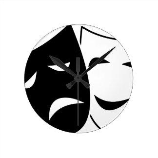 Relógio Redondo Máscara da comédia e da tragédia