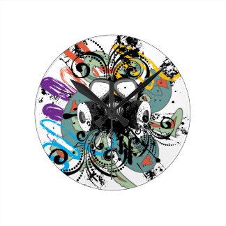 Relógio Redondo Máscara de gás floral do Grunge