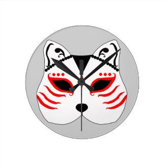 Relógio Redondo Máscara japonesa do gato