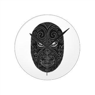 Relógio Redondo Máscara maori Scratchboard