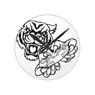 Relógio Redondo Mascote do Gamer do tigre