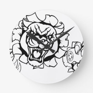 Relógio Redondo Mascote irritada de Esports do Gamer da pantera