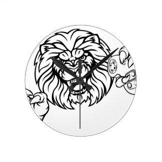 Relógio Redondo Mascote irritada de Esports do leão