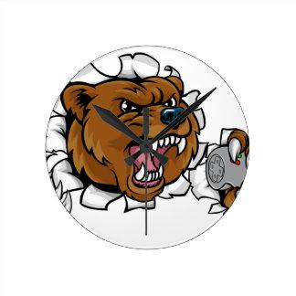 Relógio Redondo Mascote irritada de Esports do urso