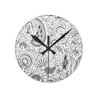 Relógio Redondo Matéria têxtil indonésia abstrata com pássaros