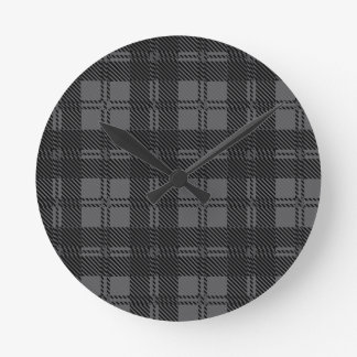 Relógio Redondo Material cinzento de lãs do Tartan da verificação